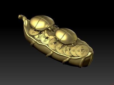 富甲天下圆雕橄榄核雕图-3d打印模型