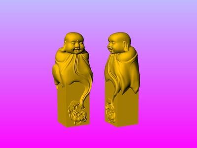 《印章系列》-笑弥勒印章-3d打印模型