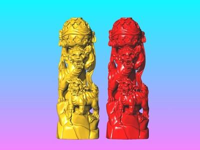 双狮印章-3d打印模型