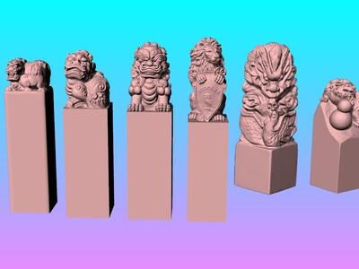 狮子 龙王印章 Y1-Y6-3d打印模型