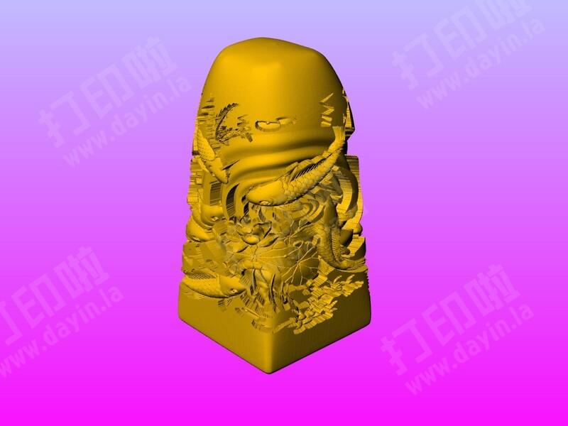 八鱼嘻莲印章-3d打印模型