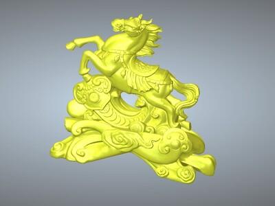 马上发财摆件-3d打印模型