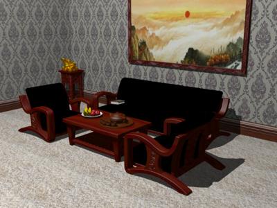 红木家具客厅(八件套)-3d打印模型