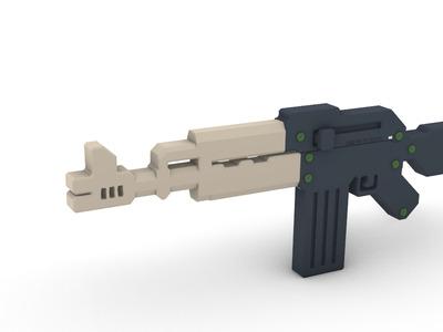 武器 AK-47 小模型-3d打印模型