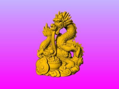 财源滚滚盘龙吐珠-3d打印模型