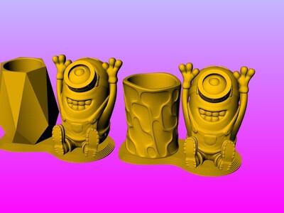 小黄人笔筒1-3d打印模型