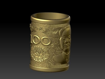 新版100元人民币笔筒-3d打印模型