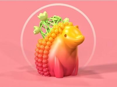 小刺猬盆栽-3d打印模型