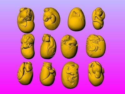 十二生肖圆雕橄榄核雕图-3d打印模型