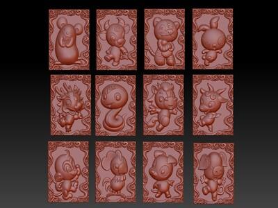 经典玉雕系列-Q版十二生肖 B(云雕框)-3d打印模型