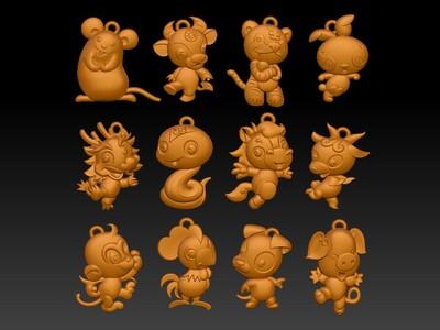经典玉雕系列-Q版十二生肖 D(吊环版)-3d打印模型