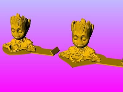 树人格鲁特 情侣心形 手机支架-3d打印模型