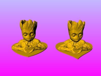 树人格鲁特 情侣心形 摆件 1-3d打印模型