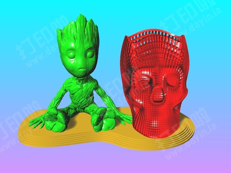 树人 格鲁特 笔筒 1-3d打印模型