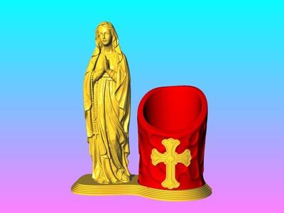 圣母玛利亚 笔筒-3d打印模型