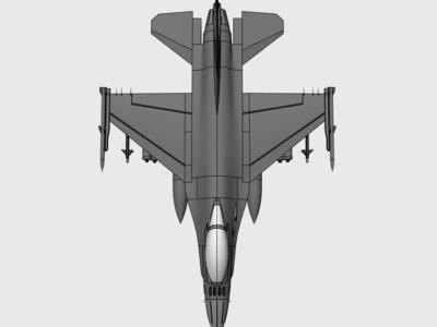 F16战斗机(高精细节逼真)拼装-3d打印模型