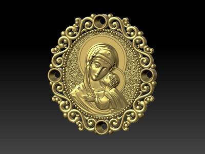 圣母玛利亚吊坠-3d打印模型