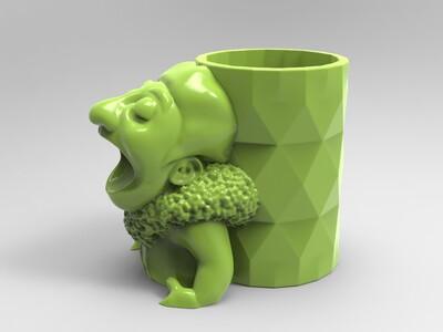王思聪吃热狗-笔筒-3d打印模型