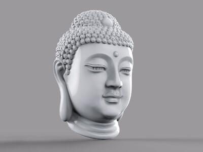 饱满的释迦摩尼 头像(掏空)-3d打印模型