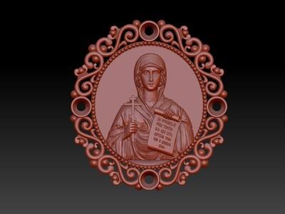 圣母玛利亚吊坠 2-3d打印模型
