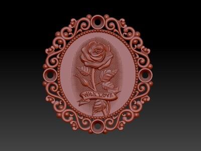 玫瑰之爱吊坠-3d打印模型