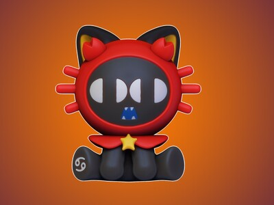 罗小黑-十二星座-巨蟹座-3d打印模型