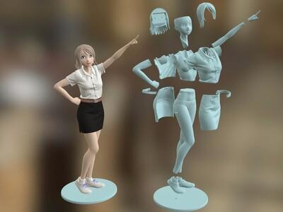 手办,女,妹子-3d打印模型