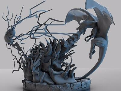 皮卡丘 战 小火龙-3d打印模型