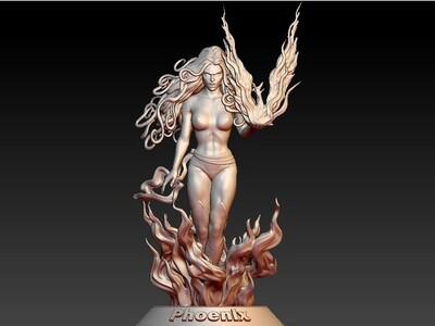 火女,凤凰,手办,女-3d打印模型