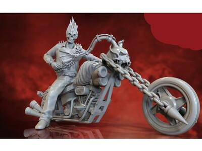 地狱骑士 恶魔 骷髅 摩托-3d打印模型