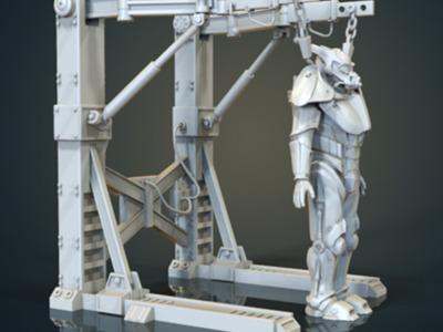 辐射 机甲和吊架-3d打印模型