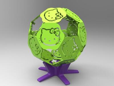 缕空组合灯(凯蒂猫)-亦可原创-3d打印模型
