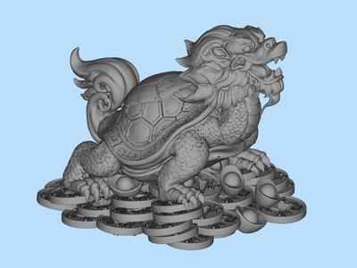 龙龟 金钱龟,财神龟 乌龟-3d打印模型
