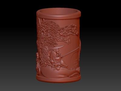 姜太公钓鱼笔筒-3d打印模型