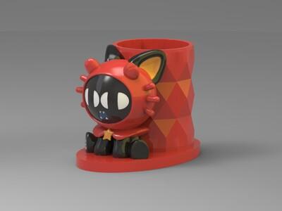 十二星座-罗小黑-巨蟹座-笔筒-3d打印模型