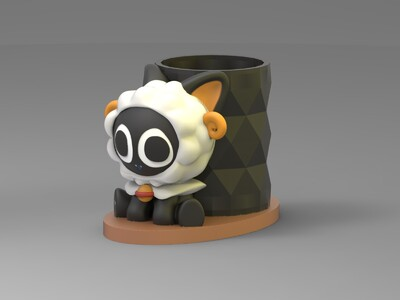 十二星座-罗小黑-白羊座-笔筒-3d打印模型