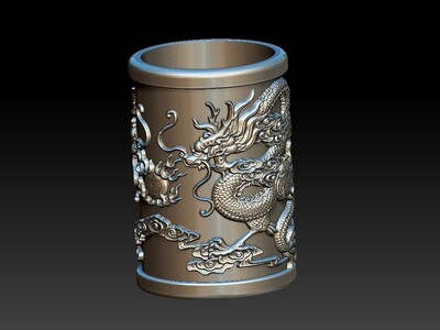 双龙戏珠笔筒-3d打印模型