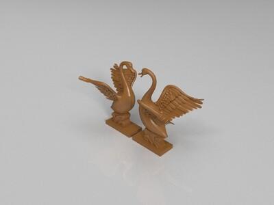 可爱的天鹅  装饰品  心型-3d打印模型
