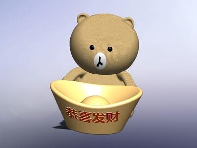 小熊抱元宝摆件
