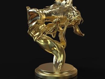 锦鲤雕塑-3d打印模型