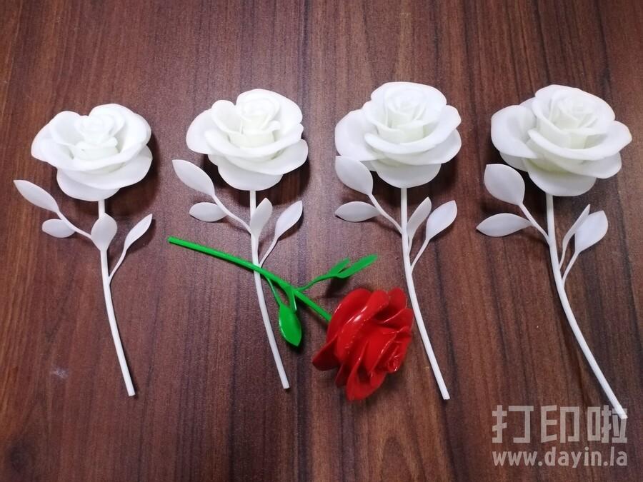 3D打印玫瑰花私人定制刻字喷漆上色-3d打印模型