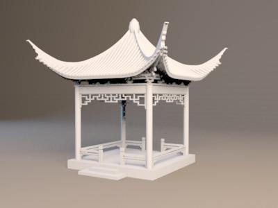 凉亭 建筑 拆分版 少支撑-3d打印模型
