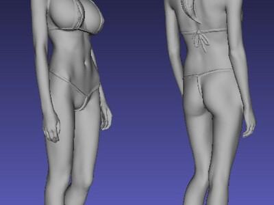 真实美女扫描-3d打印模型