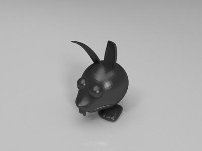 暗黑大头兔子与它的萝卜-3d打印模型