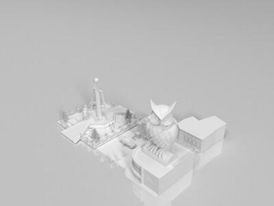 建筑添加景物 楼群-3d打印模型