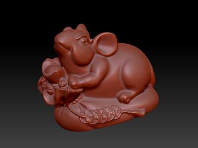 新十二生肖雕像-鼠-3d打印模型