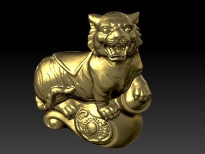 新十二生肖雕像-虎-3d打印模型