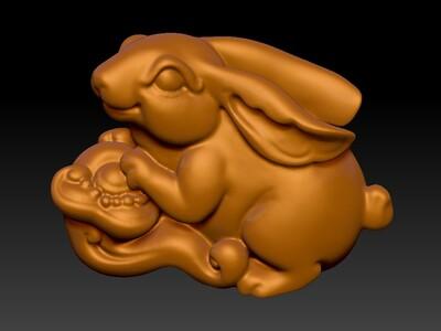 新十二生肖雕像-兔-3d打印模型