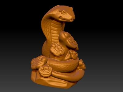 新十二生肖雕像-蛇-3d打印模型