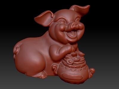 新十二生肖雕像-猪-3d打印模型